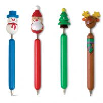 Mixed Pack of Wooden Pens with Christmas Topper